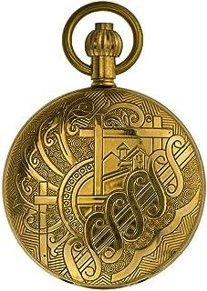 AI LI WEI Pure Copper Bronze Metal, Automatic Mechanical Watch, Men and Women Retro Antique Table Photo flip. (Color : C)