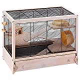 Ferplast Cage en bois FSC pour hamsters HAMSTERVILLE, souris et petits rongeurs, structure sur plusieurs niveaux, accessoires inclus