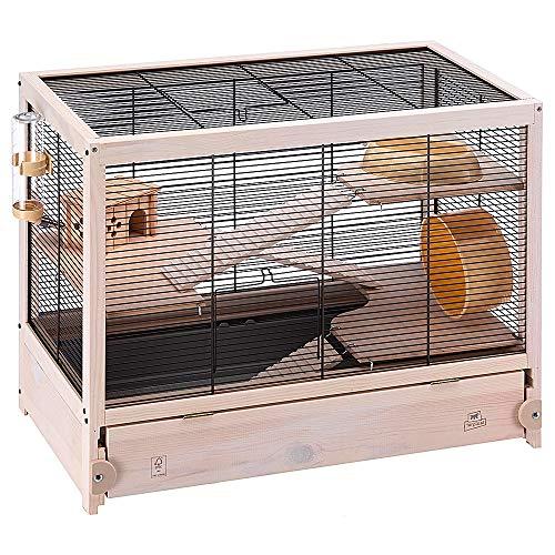 Ferplast FSC Holzkäfig für Hamster HAMSTERVILLE für Mäuse und kleine Nagetiere, Multi-Level-Struktur, Zubehör inklusive