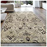 Superior 8mm Pile Height with Jute Backing, Gorgeous Patchworked Damask Design, Fashionable and Affordable Woven Rugs, 8' x 10' Rug, Beige