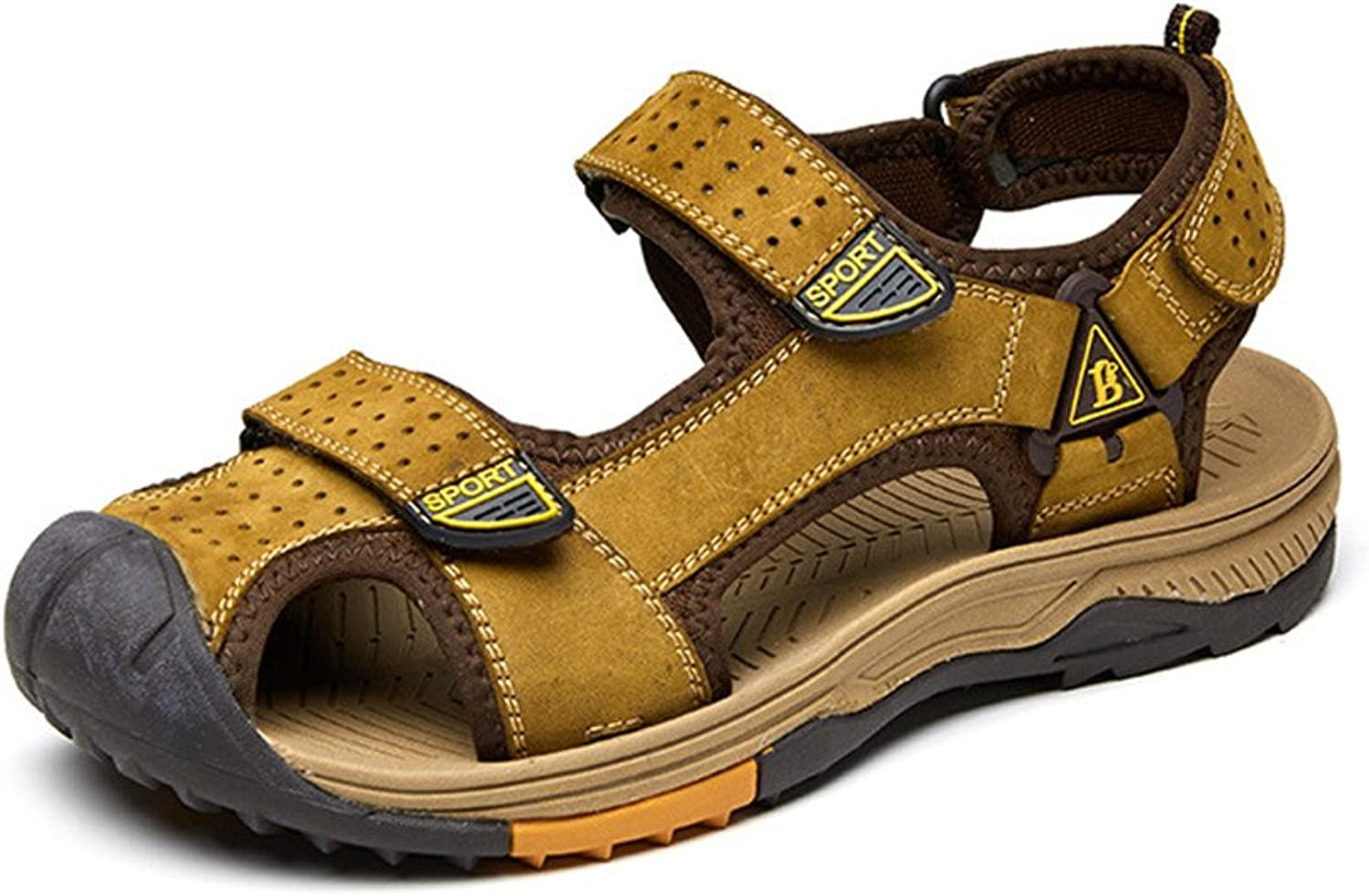 Men's On Foot Sneaker Leather Sandals Summer Outdoor Fisherman's shoes Closed Walk