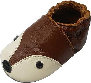 f0d7ea8b28d99 YIHAKIDS Bébé Filles Garçons Chaussures Cuir Souple Enfant Chaussons Cuir  Doux Chaussures Premiers Pas