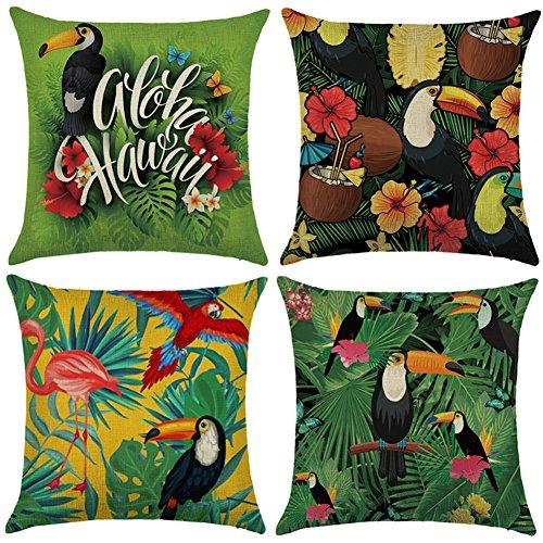 Aipark 4 pcs 45 x 45 cm Taies d'Oreillers Décoratives Housses de Coussin Tropical Flamant pour Canapés Lits Chaises Chambres