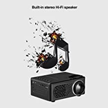 Mini Projector, 7000 Lumens 3D 1080P Full HD Mini Projector LED Multimedia Home Theater AV USB support Compatible with courtyard movie (Black)