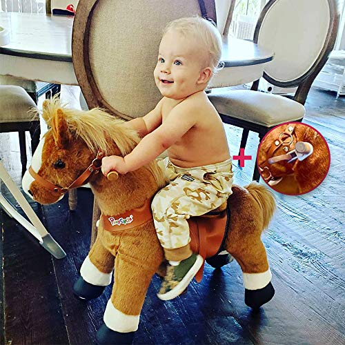 PonyCycle Model U-2021 Ride on Horse Toy Plush Walking Animal Brown Horse Small Size for Age 3-5 Ux324