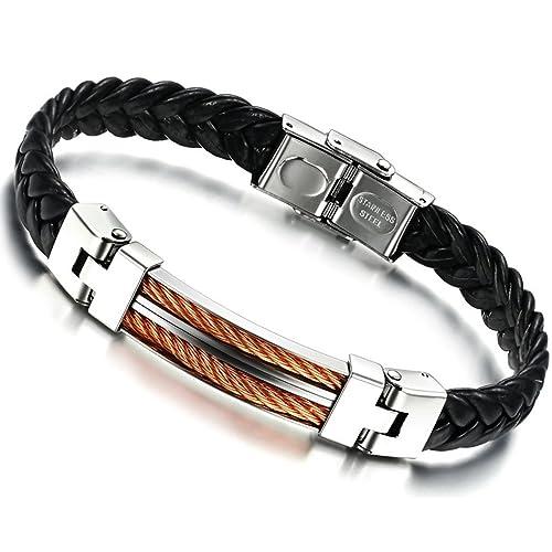 7cf918a372e5 Stayoung Jewellery Puente de Amor Hombre Acero Inoxidable Pulsera Brazalete  Cuero Negro 3 Colores
