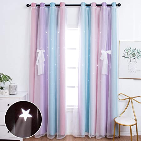 Unistar 2 Panels Blackout Stars Curtains for Kids Girls Bedroom Aesthetic Living Room Decor Colorful Double Layer Star Cut Out Stripe Pink Rainbow Window Curtain, W52 x L63 Inches, Set of 2