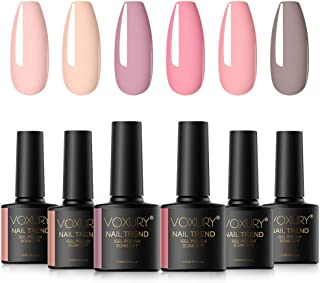VOXURY Esmaltes Semipermanentes de Pastel Uñas en Gel UV LED 6pcs Colores Rosa Nude Kit de Esmaltes de Uñas en Gel 10ml