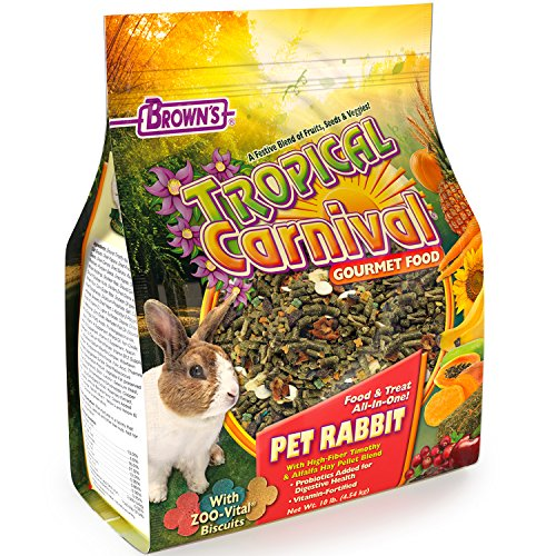 F.M. Brown's Tropical Carnival Gourmet Pet Rabbit Food with High-Fiber Timothy and Alfalfa