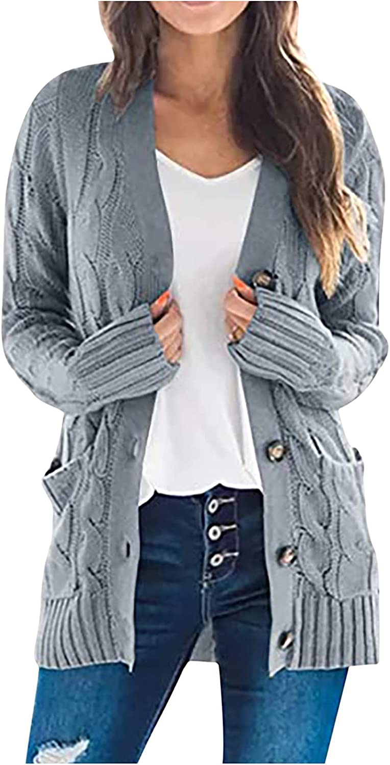 Womens Cardigan Sweaters New Portland Mall arrival Knit Open Front Long Down Buttons Sleev