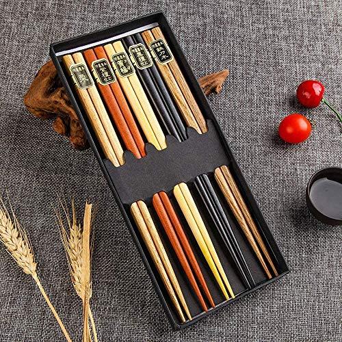 WZH Palillos de Calidad: Palillos de Madera Natural, Juego de Cinco Palillos de Madera, Caja de Regalo de Palillos de Color sólido Importados de Brasil