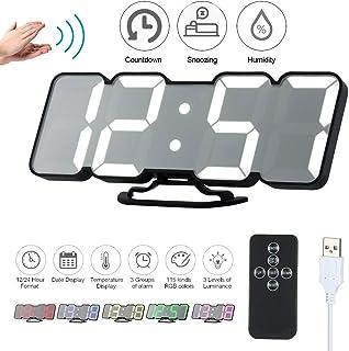 Decdeal Despertador Digital de Mesa con Mando a Distancia y Luz Led/RGB/USB/3D/Negro/Tipo 2