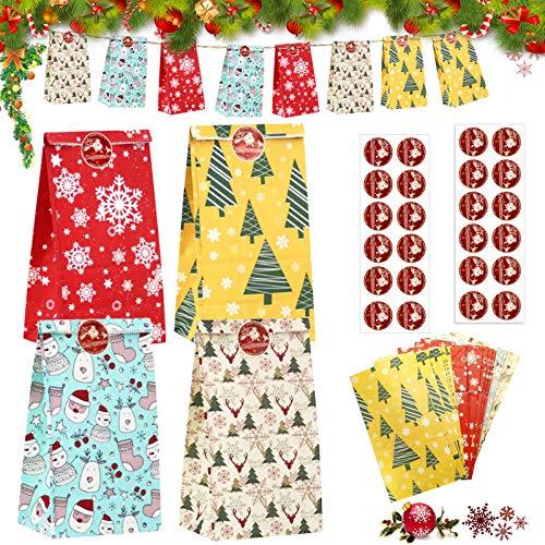 Geschenktüten Weihnachten, 24 Stück Papiertüten,Weihnachten Geschenktaschen,Geschenkbox,Weihnachten Papiertüte,Geschenktüten mit Griff Kraftpapier,Süßigkeiten Tüten mit weihnachtlichen Aufklebern