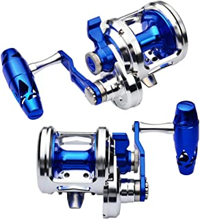 Proberos Fishing Trolling Reel Saltwater Heavy Duty Deep Ocean Big Offshore Round Aluminum Conventional Jigging Reels 1PC