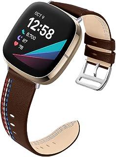 KangPlus Bracelet de rechange en cuir pour montre connectée Fitbit Versa 3/Fitbit Sense, bracelet de montre en cuir souple...
