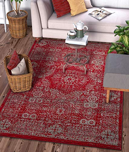 Well Woven Camila Medallion Red Distressed Traditional Vintage Persian Floral Oriental Area Rug 9x13 (9'3' x 12'6') Carpet