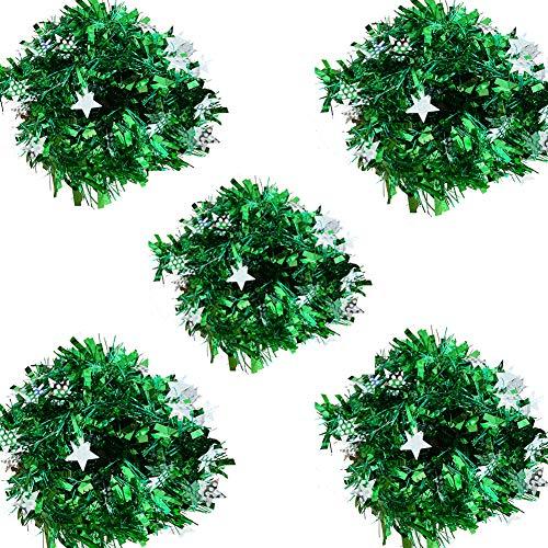 HOMEJIA Kerstboom Tinsel Garland Pack van 5 Lint Bar Glanzende Toppen Kerstboom Opknoping Ornamenten Thuis Plafond Decoratie Totaal 10Meter/33FT