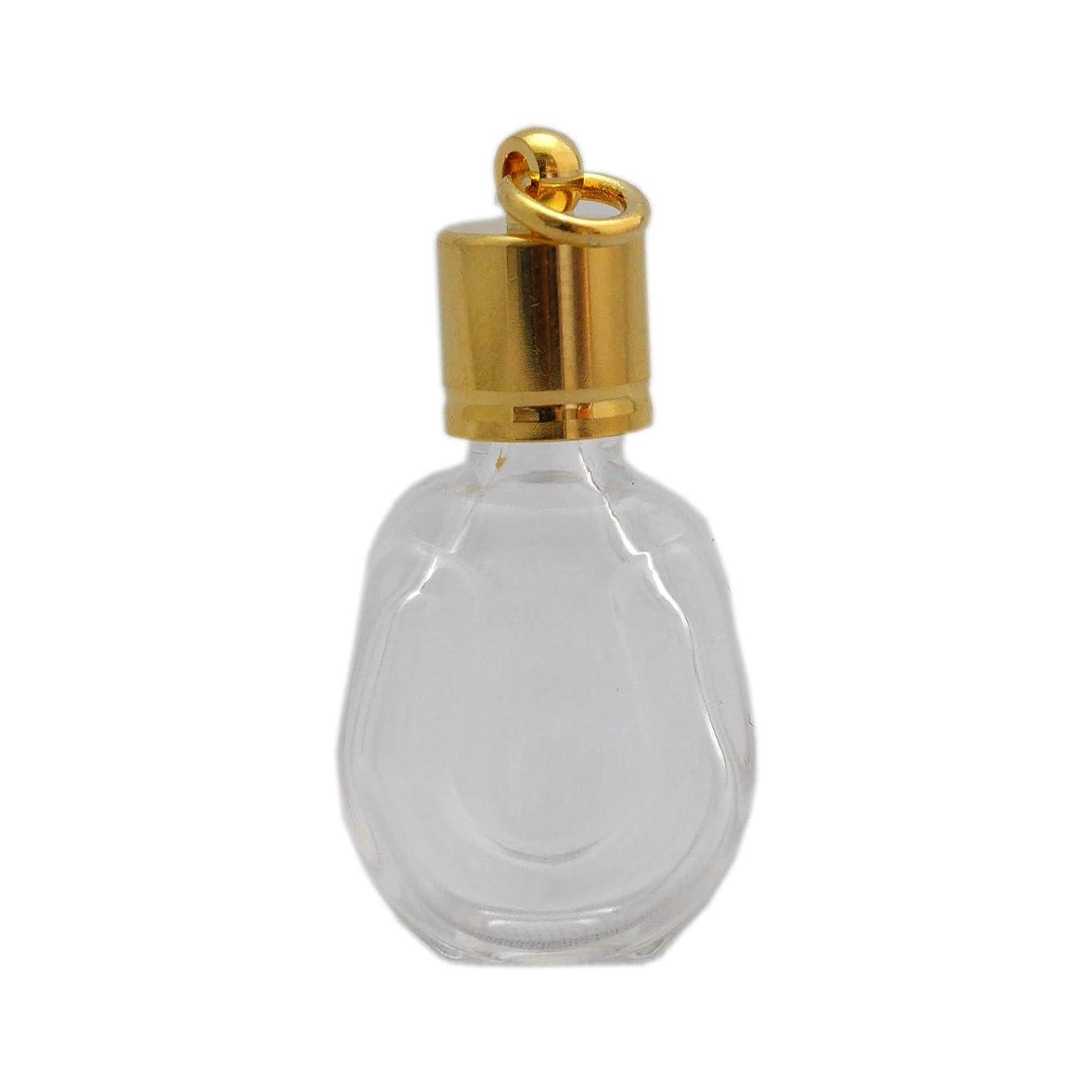 肥沃な事前石膏ミニ香水瓶 アロマペンダントトップ 馬蹄型(透明 容量1.3ml)×穴あきキャップ ゴールド
