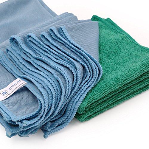 Microfiber Glass Cleaning Cloths | Streak Free Windows & Mirrors | Lint Free Towels | Car Windows Wipes | Polishing Rags | Machine Wash- Blue, Green (8 Pack)