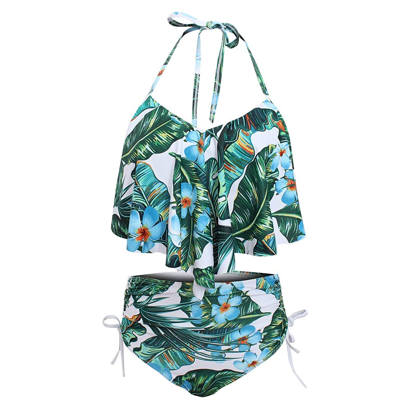 Benficial Women's High Neck Two Piece Bathing Suits Top Ruffled High Waist Swimsuit Tankini Bikini Sets