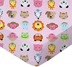 product image for SheetWorld Fitted 100% Cotton Flannel Play Yard Sheet Fits BabyBjorn Travel Crib Light 24 x 42, Animal Faces Pink, Made in USA