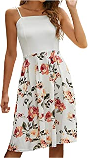 TOPME فستان نسائي كاجوال فستان صيفي مطبوع عليه زهور فستان مزاجه فستان حبال ، فستان بجيب