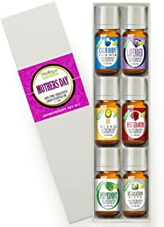 Mothers Day Set 100% Pure, Best Therapeutic Grade Essential Oil Kit - 6/10mL (Calm Body/Calm Mind Blend, Lavender, Joy Blend, Peppermint, Relaxation Blend, and Rose Geranium)