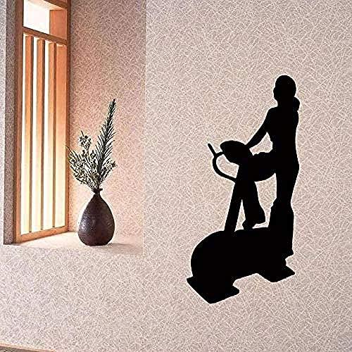 Pegatinas de pared,Vinilo Fitness Mujer Bicicleta estática Fitness Center Chica Pared Dormitorio 88X55cm,mural Decoración hogareña