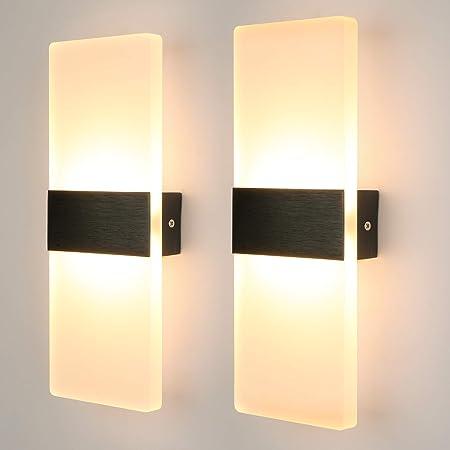 Glighone 2Pcs Applique Murale Intérieur LED Moderne Lampe Murale Éclairage Acrylique Luminaire Mural Decoration pour Salon Chambre Couloir Salle À Manger, 12W Blanc Chaud [Classe énergétique A ++]