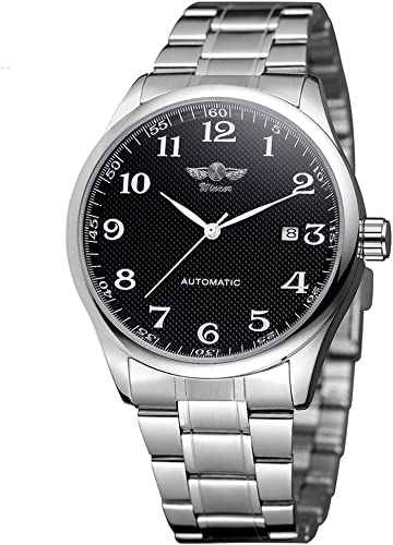 Mens Watch Stone Automatic Watch with Calender Display Easy Reader Black Dial Analog Watch