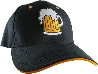 Beer Mug Hat, Men's Black Baseball Cap, Embroidered Patch