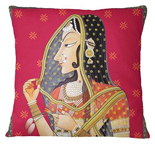 S4SASSY Banithani stampa Home Decor multicolore piazza cuscino Pillow case–scegliere la taglia, Satin, Multicolour, 22 x 22 Inches