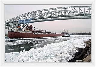 Great Lakes Freighter Navigating ice Packs on Lake Huron at Port Huron, MI White Framed Art Pri.