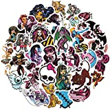 50pcs Monster High Stickers Laptop Sticker Waterproof Stickers Luggage Skateboard Water Bottle Stickers Decal Bicycle Bumper Snowboard Decorate Gift (Monster High)