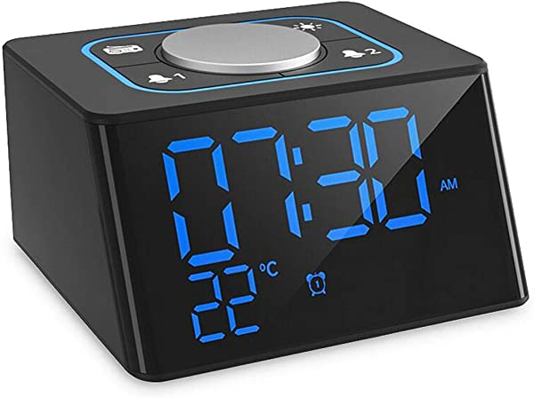 Clock Radios Dual Snooze Alarm Clock Radio FM For Bedrooms And Office Digital Alarm Clock With Headphone Jack 12 24H Mode LED Brightness Dimmer Temperature Display Indoor USB Charging For Smartphone