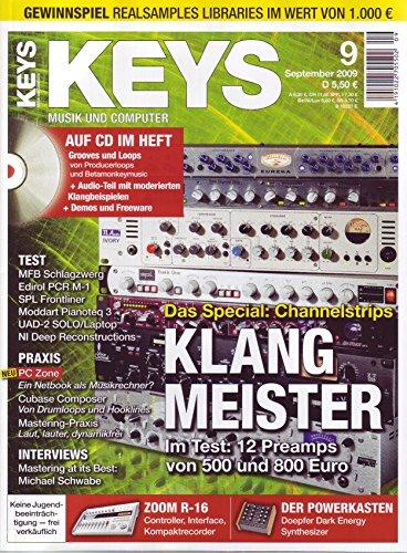 Keys 9 2009 mit CD - Channelstrips - Preamps im Test - Grooves und Loops von Producerloops auf CD - Personal Samples - Free Loops - Audiobeispiele