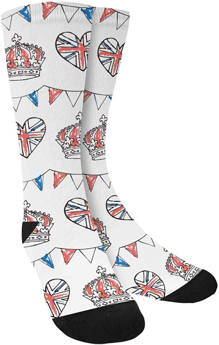 INTERESTPRINT Bunting and Crowns Sublimated Polyester Casual Crew Socks
