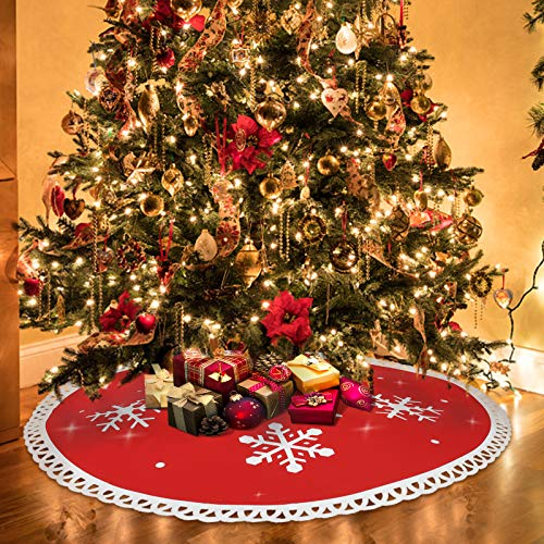 Mayepoo Fieltro Falda de árbol de Navidad, Base del Árbol de Navidad, Fiesta de Navidad y Decoraciones para el Hogar, Copo de Nieve