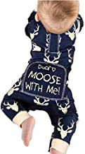 Newborn Baby Girls Boys Don't Moose with Me Letter Print Romper Jumpsuits One-Piece Outfits,Navy