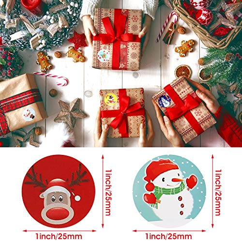 6 Rolls 3000 Pieces Christmas Stickers Round Adhesive Labels Xmas Decorative Stickers Christmas Stickers Labels Roll 1 Inch 48 Designs for Cards Envelopes Boxes Photo #6