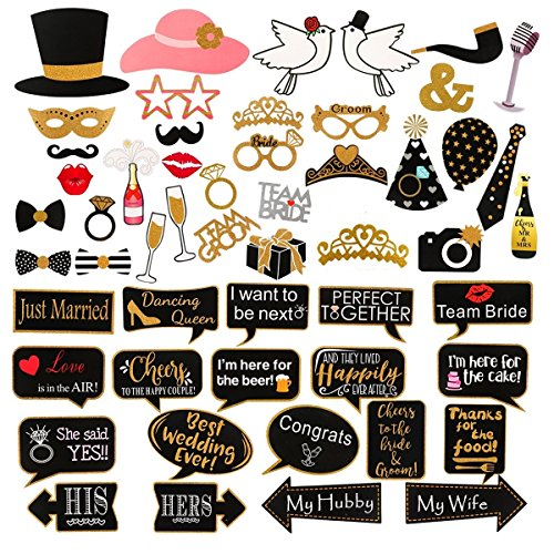 60Pcs Wedding Photo Booth Props Pose Sign Kit Bachelorette Christmas Holiday Wedding Birthday Party Decoration Supplies