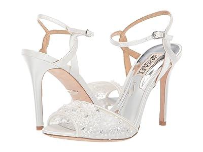 Badgley Mischka Isabella (White Satin/Mesh) High Heels