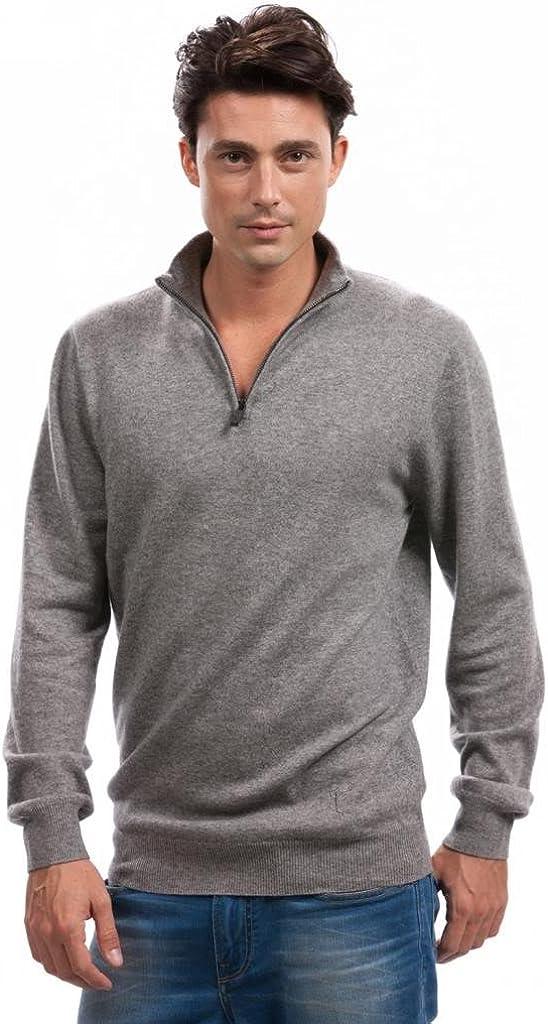 Citizen Cashmere Men Quarter Zip Pullover Sweater - 100% Cashmere