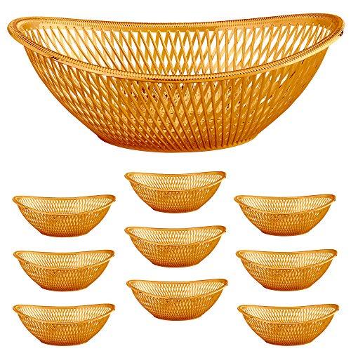 Large Plastic Rose Gold Bread Baskets - 10pk. Reusable 12 Inch Oval Food Storage Basket - Elegant Modern Décor for Kitchen, Restaurant, Centerpiece Display - by Impressive Creations