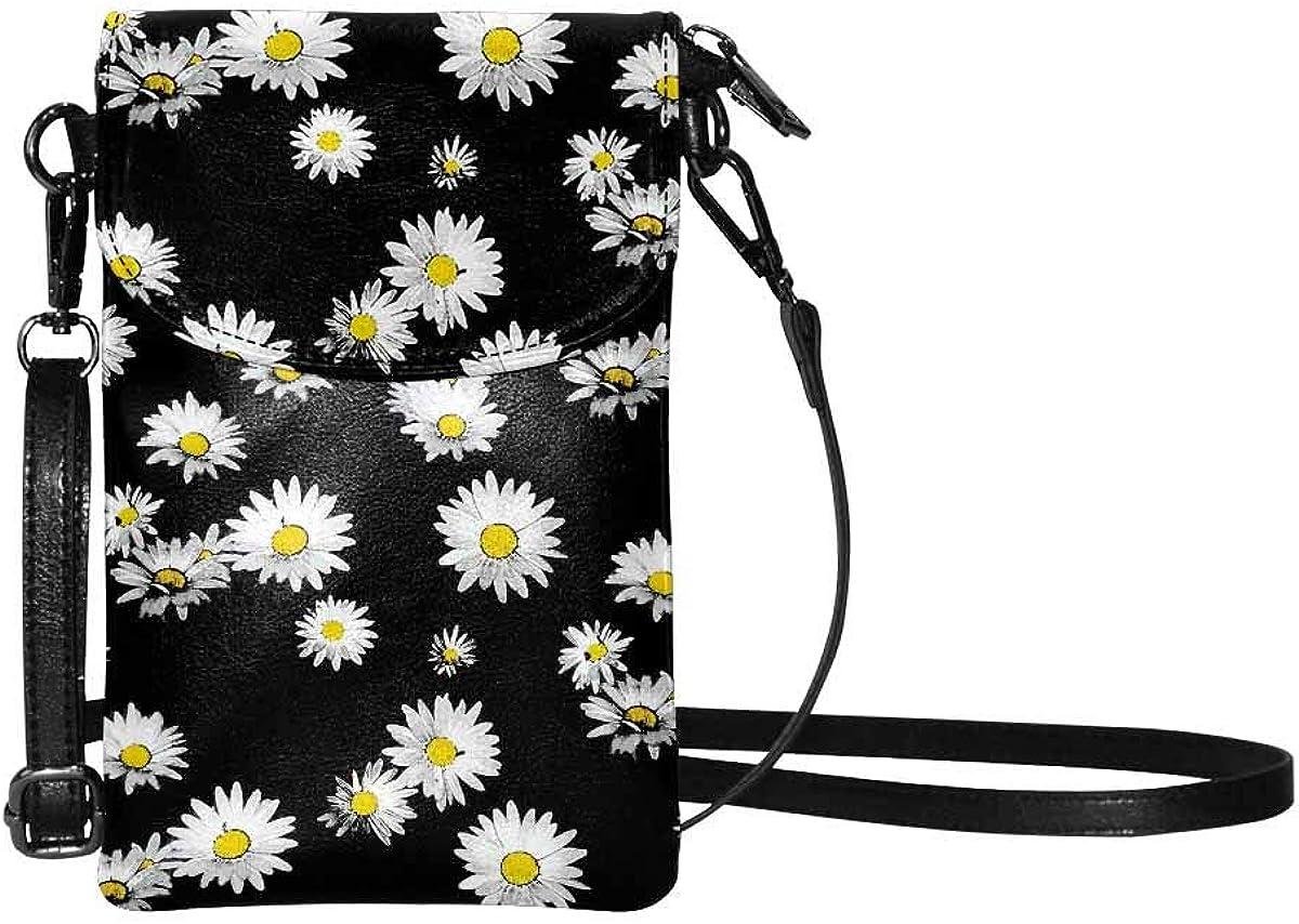 InterestPrint Small Crossbody Bag Cell Phone Purse Lightweight Passport Bag for Women Daisy and Poppy Field