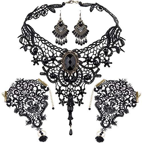 SEELOK 5Stk Schwarz Spitze Halskette Ohrringe Set, Gothic Schmuck Kette Lolita Spitzenarmband Black Lace Anhänger Choker Steampunk Cosplay Kostüm Zubehör für Hochzeit Valentinstag