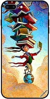 حافظة واقية لجهاز آبل آيفون 7 بلس حافظة تغطية فتاة على الكرة الأرضية مع كتب