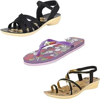 Earton Women Combo Pack of 3 Sandal with Slipper