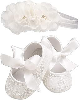 Lace Baptism Christening Shoe and Headband Set for Baby Girl (Size 2)