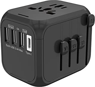 GETJZ Universal Travel Adapter Type C 5A Quick Charging All-in-one International Power Adapter with 4USB Ports (5.0A)